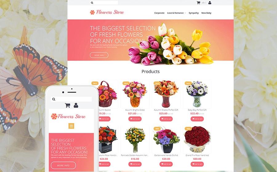 Flower Shop Responsive MotoCMS Ecommerce Template