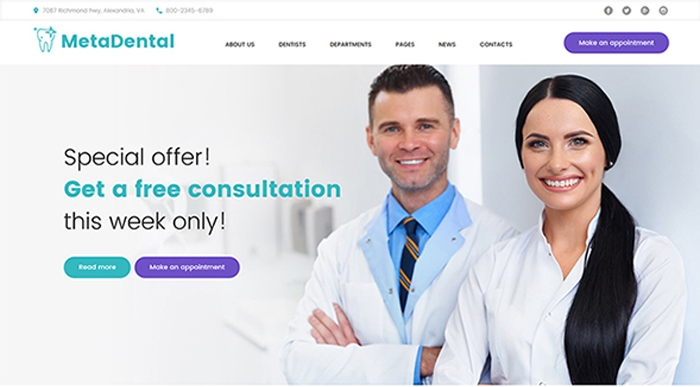 MetaDental - Private Dental Clinic Responsive WordPress Theme