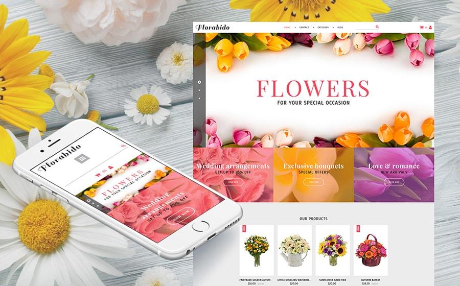 Bouquets & Floral Arrangement MotoCMS Ecommerce Template