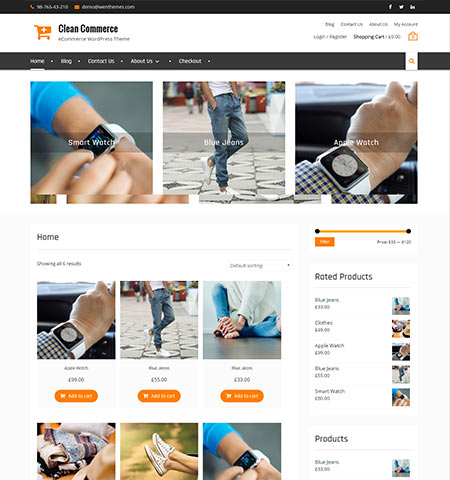 Clean Commerce - Best free WordPress  WooCommerce themes