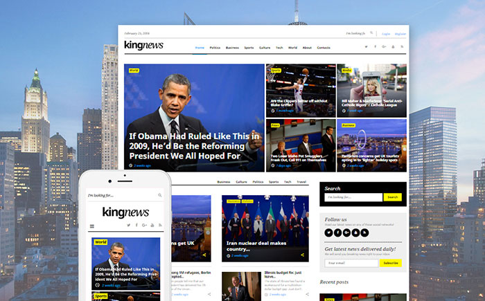 KingNews GPL WordPress Template