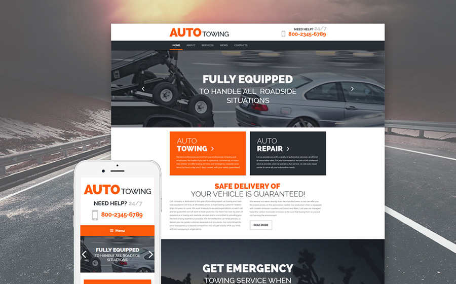Tow Truck Service WordPress Theme