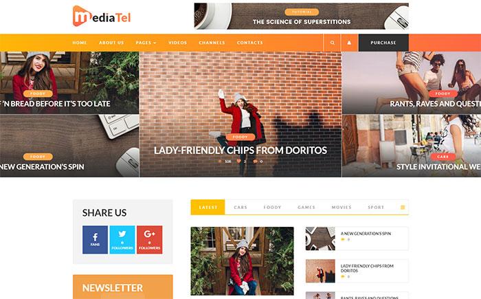MediaTel - Youtube/Vimeo Video News Aggregator Magazine WordPress Theme