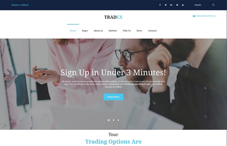 Tradex - Forex Trading WordPress Theme