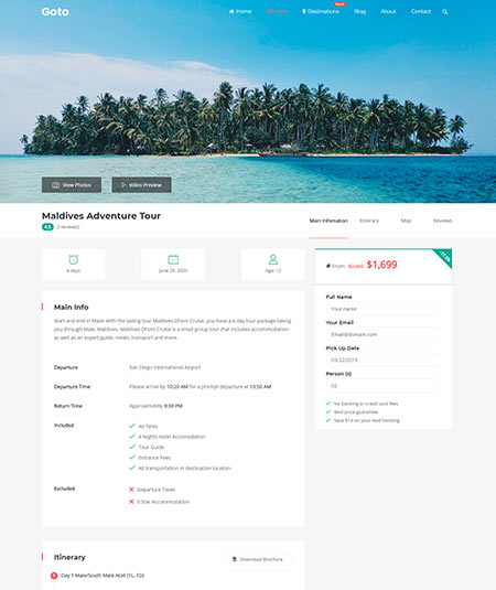 WordPress Themes Tour Operator
