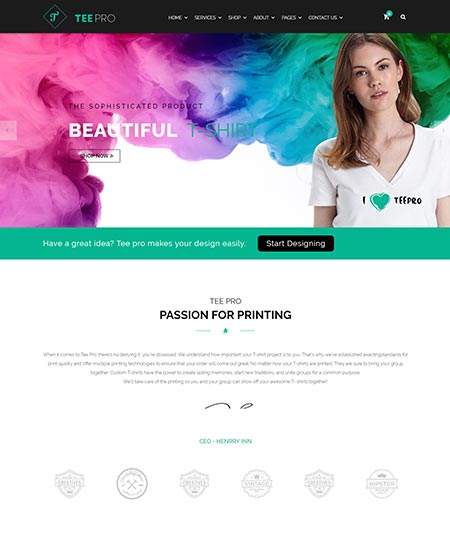 t-shirt ecommerce wordpress theme
