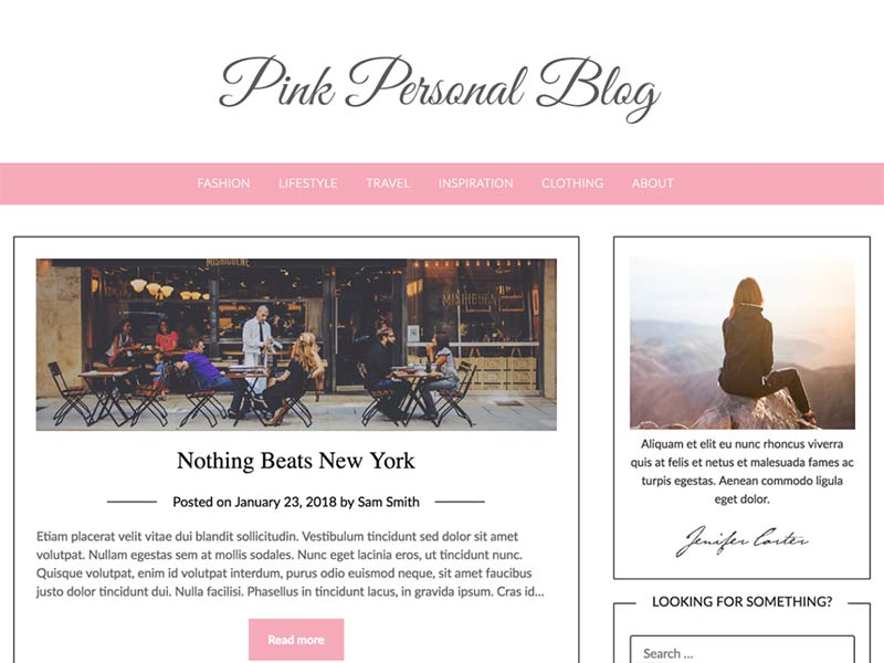 Pink Personal Blogily