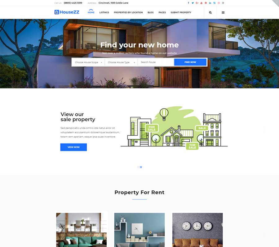 Housezz - Real Estate Listings WordPress Theme