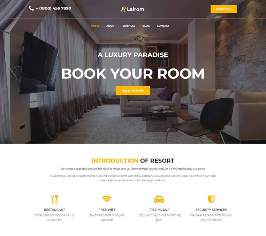 Lairom Best Hotel Booking WordPress Theme