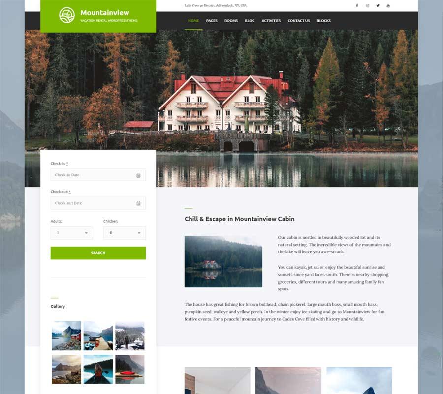 Mountain View Best Hotel Booking WordPress Theme