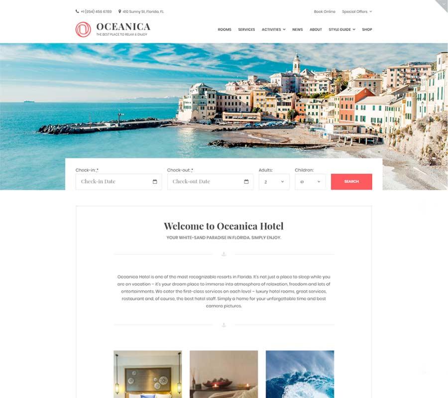 Oceanica Best Hotel Booking WordPress Theme