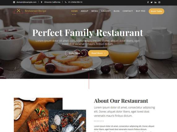 Restaurant Recipe - Free WordPress Theme for Restaurant