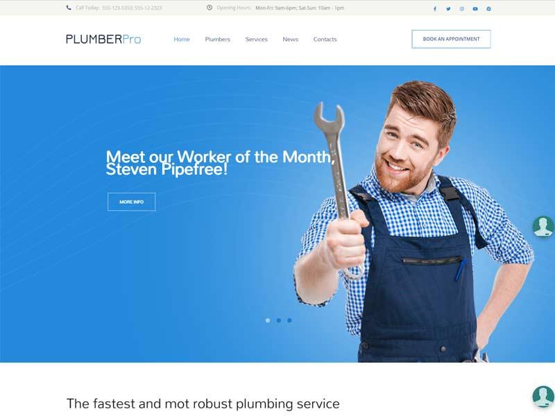 Plumber Pro - Plumbing Service WordPress Theme