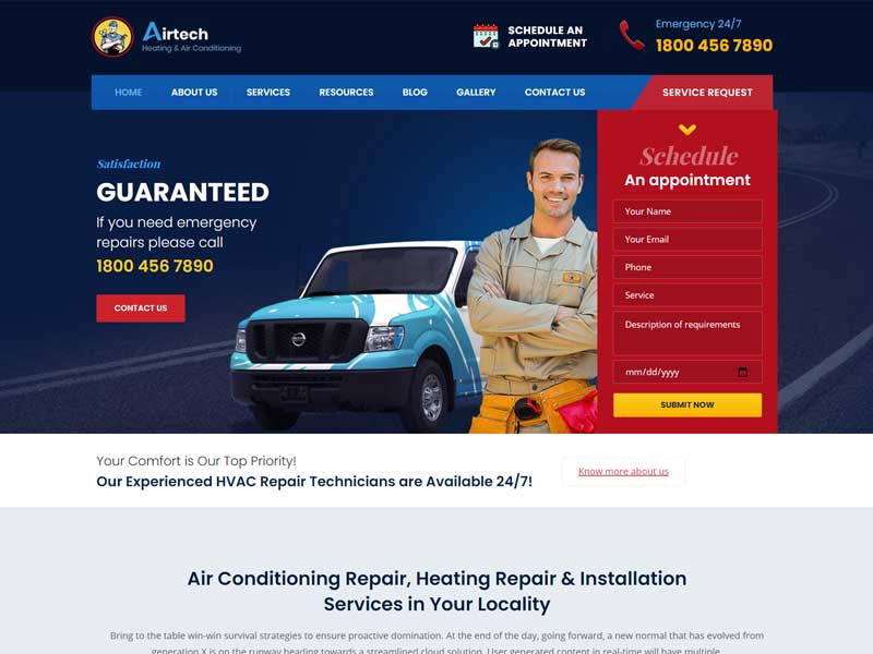 Airtech - Plumber WordPress Theme
