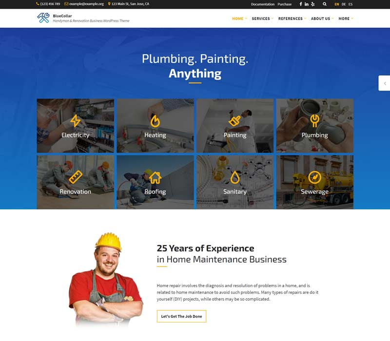 BlueCollar - Handyman & Renovation WordPress Theme
