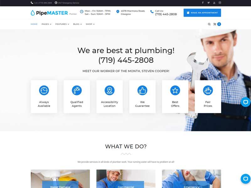PipeMaster - Plumbing Services WordPress Theme