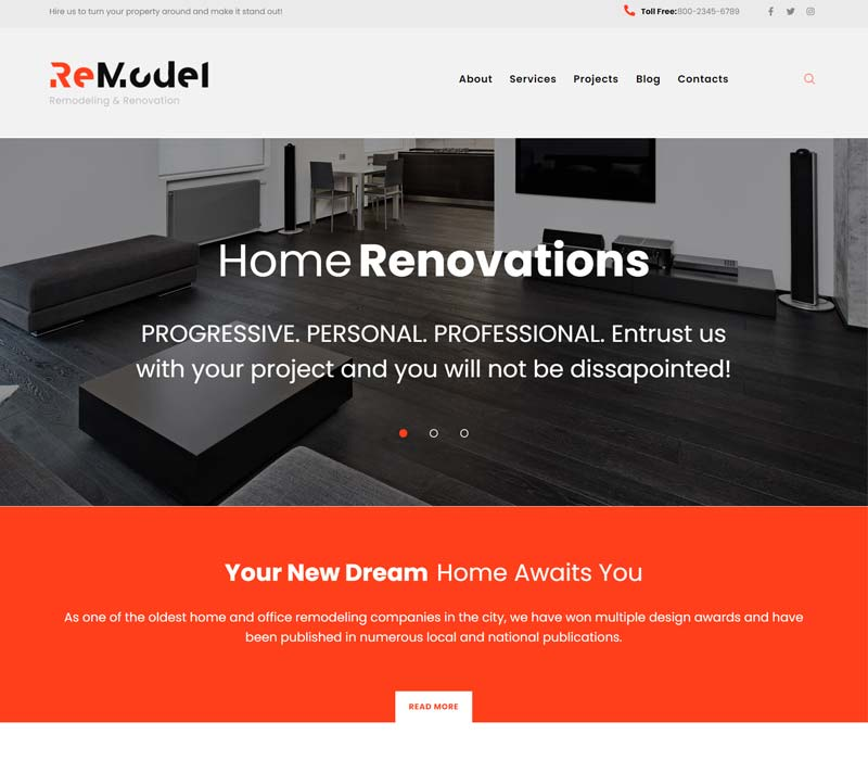Remodel - Interior & Renovation WordPress Theme